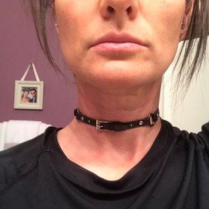Christian Dior Black Leather Belt Buckle Choker